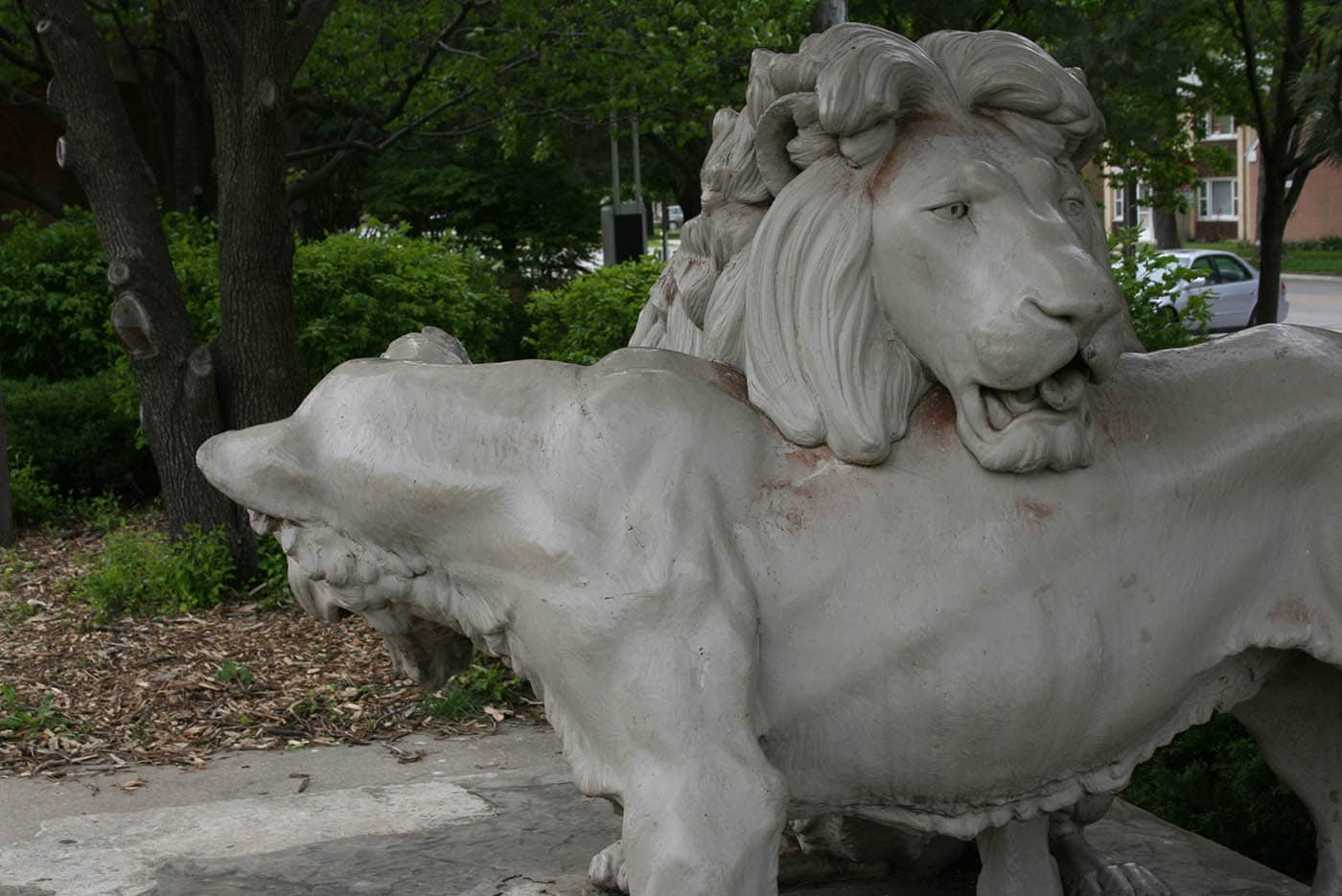 Lion Zoo Statues at the Zoo Stop in Brookfield, Illinois