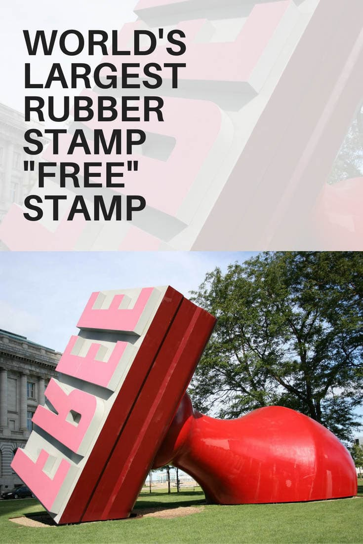 Photos of the FREE STAMP, the World's Largest Rubber Stamp in Cleveland, Ohio. Since 1991, this bright red stamp stands at 28-feet tall and 48-feet long. Does this weird roadside attraction have your STAMP of approval? Visit this Ohio road trip destination on your travels through the state and add it to your travel bucket lists and itineraries. #OhioRoadsideAttractions #RoadsideAttractions #RoadTrip #OhioRoadTrip #OhioRoadTripDestinations #WeirdRoadsideAttractions #RoadTripStops