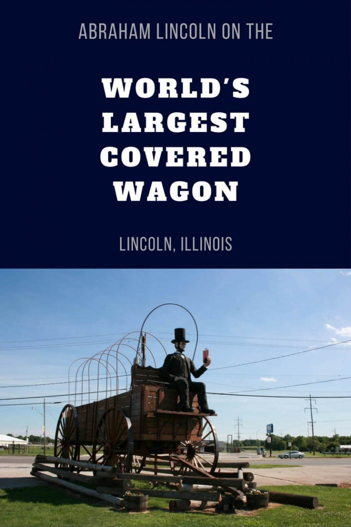 Photos of the life-sized Abraham Lincoln riding on the World's Largest Covered Wagon - a weird roadside attraction in Lincoln, Illinois. See this place to visit in Illinois on your Route 66 road trip through Illinois. A must see roadside attraction to add to your travel itinerary and bucket lists.