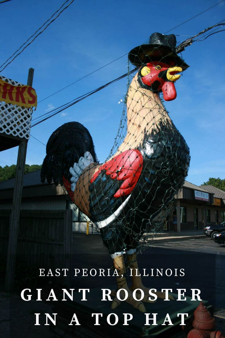 This Giant Rooster in a top hat roadside attraction is a ten-foot tall statue that stands outside of Carl's Bakery in East Peoria, Illinois. Visit this weird roadside attraction on a fun Illinois road trip across the state or Illinois vacation with kids (and visit the bakery as a thing to do in Illinois too). #IllinoisRoadsideAttractions #IllinoisRoadsideAttraction #RoadsideAttractions #RoadsideAttraction #RoadTrip #IllinoisRoadTrip #IllinoisWithKids #WeirdRoadsideAttractions #RoadTripStops