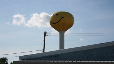 Smiley Face Water Tower in Atlanta, Illinois