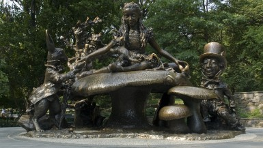 Alice in Wonderland Statue in Central Park, New York City.