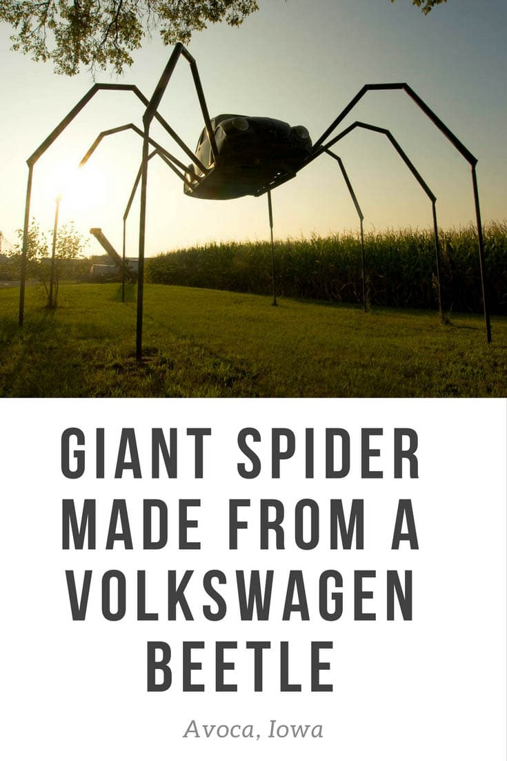 Giant Spider made from a Volkswagen Beetle car - a weird roadside attraction in Avoca, Iowa. Not a roadside attraction for those with arachnophobia! The giant Volkswagen Beetle Spider in Avoca is a different type of VW bug than you might be used to seeing! Add this to your Iowa bucket list of things to do on an Iowa road trip. #IowaRoadsideAttraction #RoadsideAttraction #RoadTrip #IowaRoadTrip #IowaThingsToDo #IowaBucketList #IowaRoadTripIdeas  #IowaTravel #WeirdRoadsideAttractions #RoadTripStop