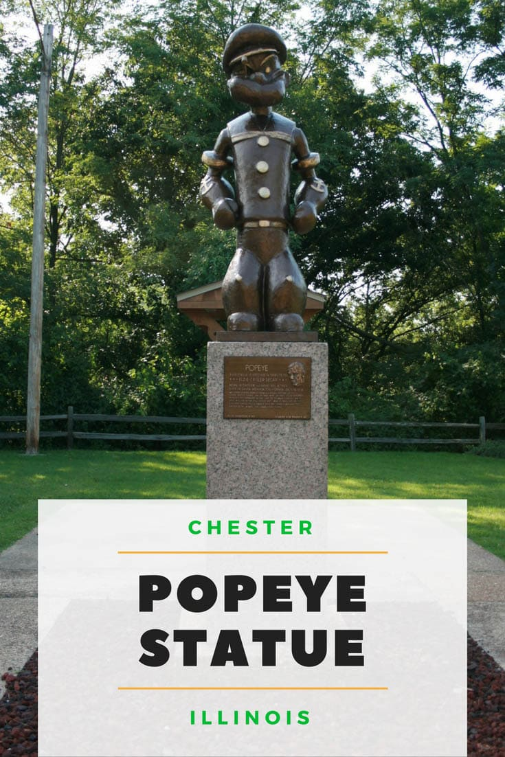 A six-foot, 900 lb. bronze Popeye statue in Segar Memorial Park, overlooking the Mississippi River, in Chester, Illinois, the Home of Popeye the Sailor Man. Don't miss this town full of weird roadside attractions devoted to Popeye. Add this place to visit in Illinois to your travel bucket lists and Illinois road trip itinerary. #IllinoisRoadsideAttractions #IllinoisRoadsideAttraction #RoadsideAttractions #RoadsideAttraction #RoadTrip #IllinoisRoadTrip #WeirdRoadsideAttractions #RoadTripStops
