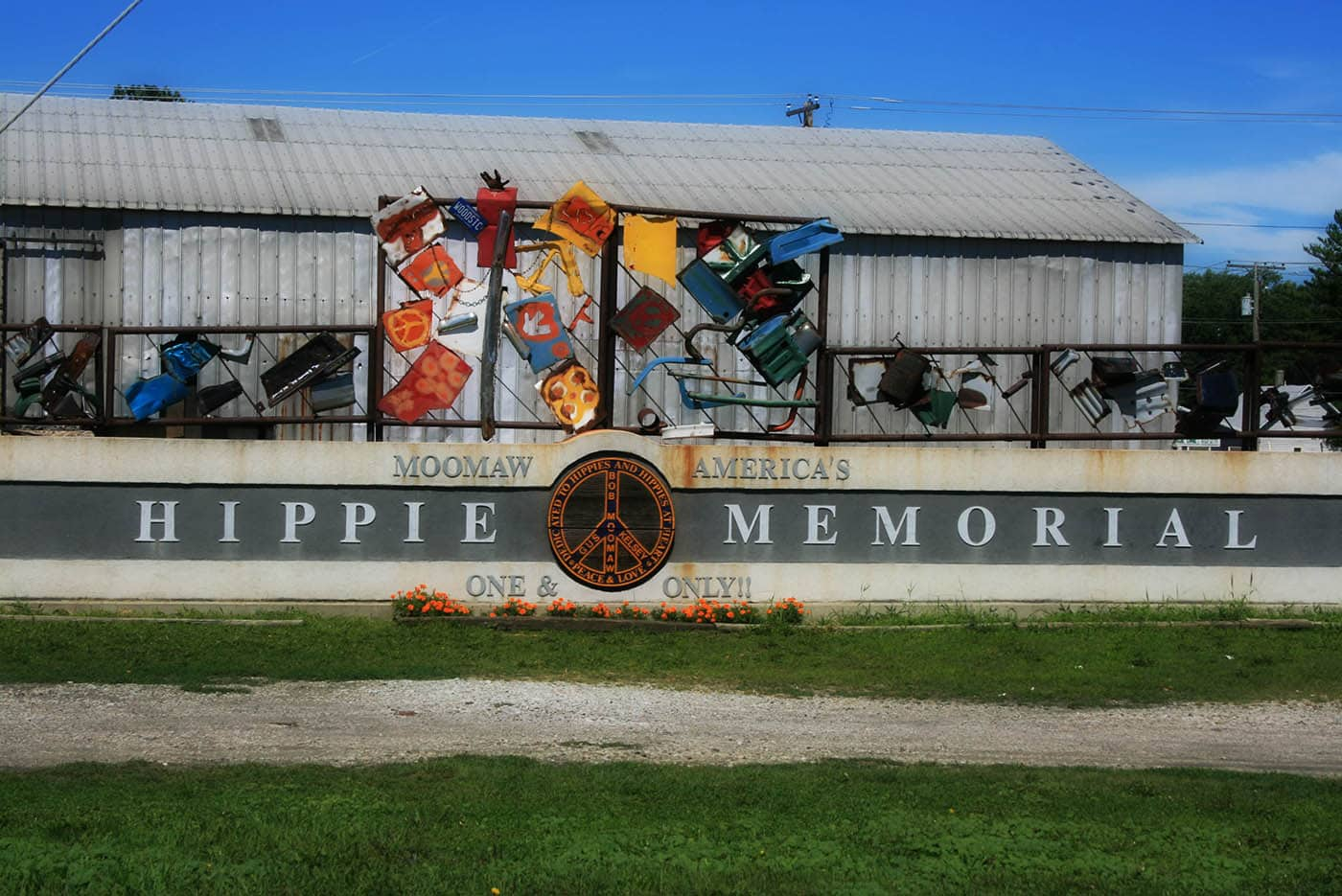 Moomaw America's Hippie Memorial, the one and only Hippie Memorial, a roadside attraction in Arcola, Illinois