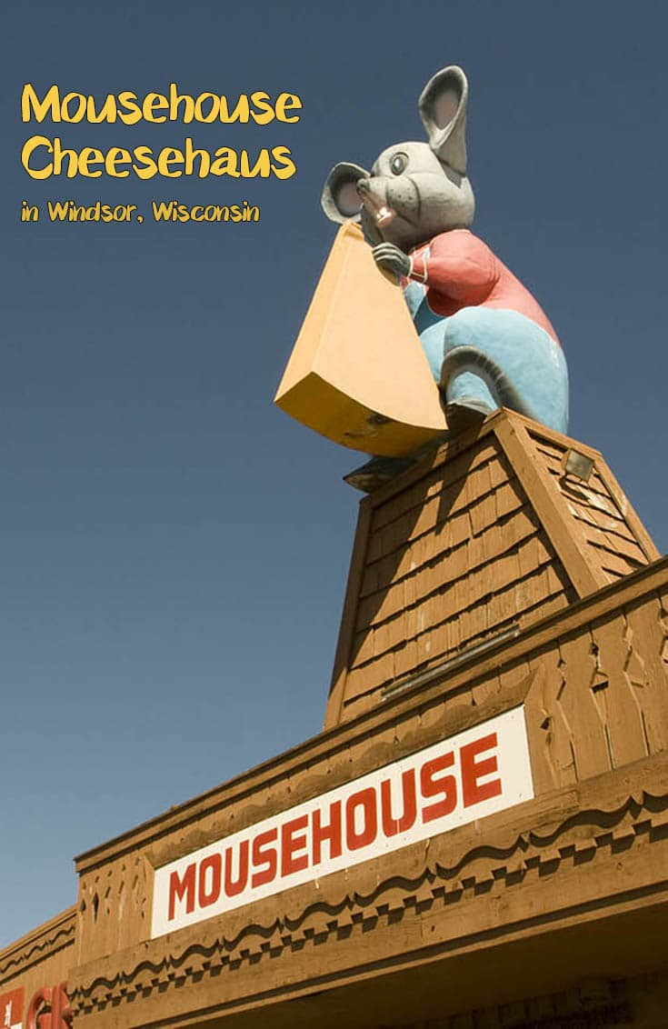 A Wisconsin roadside attraction you have to cheese to believe! A giant mouse with cheese on the roof of the Mousehouse Cheesehaus in Windsor, Wisconsin. Add this weird roadside attraction to your Wisconsin road trip itinerary or travel bucket list. A fun place to visit with kids or friends! #WisconsinRoadsideAttractions #WisconsinRoadsideAttraction #RoadsideAttractions #RoadsideAttraction #RoadTrip #WisconsinRoadTrip #ThingsToDoInWisconsin #WeirdRoadsideAttractions #RoadTripStops
