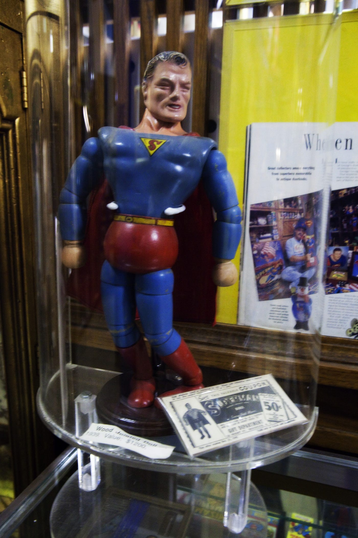 Wooden Superman doll at the Super Museum in Metropolis, Illinois.
