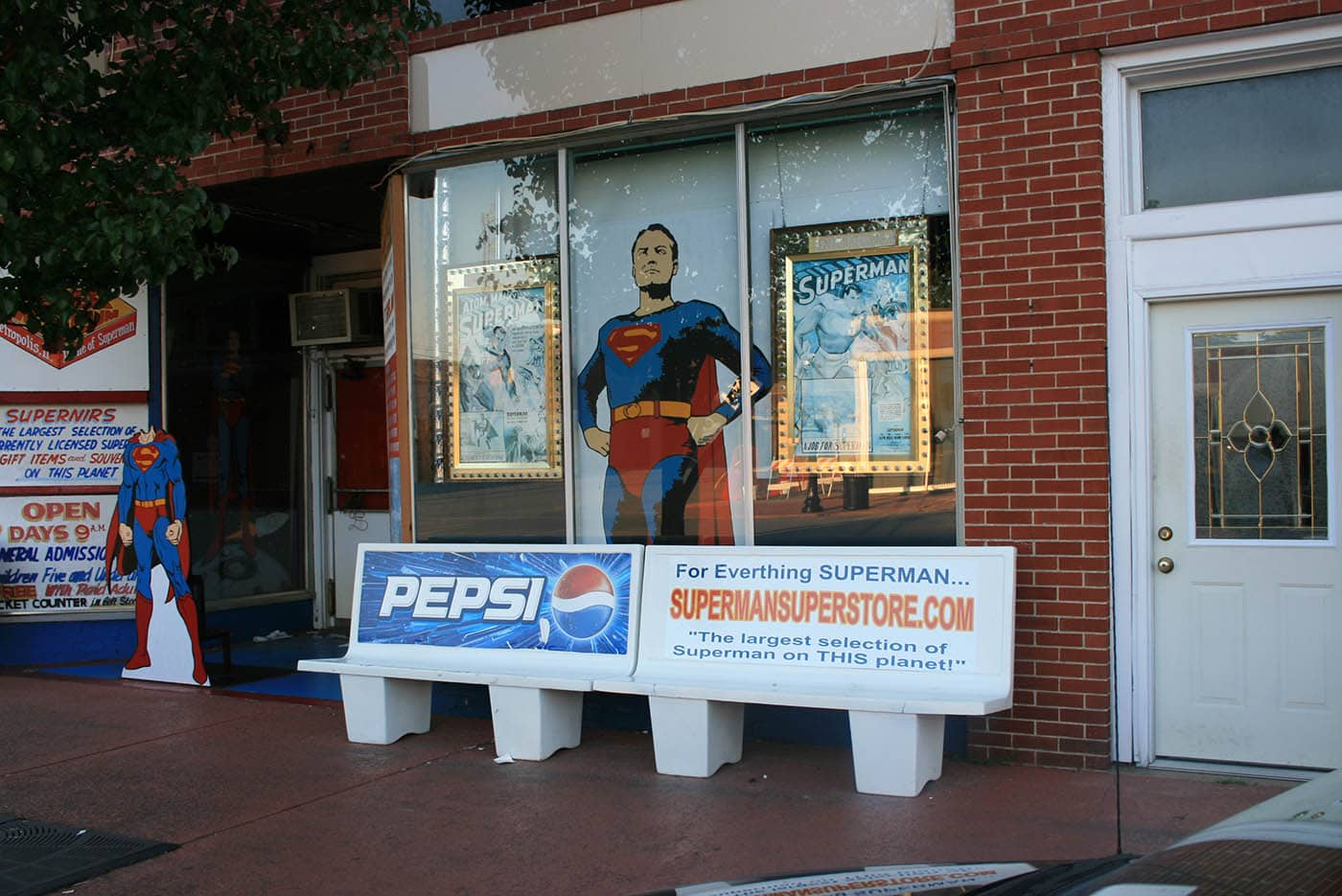 Superman bus bench in Superman Square in Metropolis, Illinois