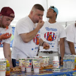Tim Gravy Brown at a Hot Dog Eating Qualifying Contest in Kansas City, Missouri.