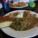 Smothered pork and mashed potatoes at Sweetie Pie's in St. Louis, Missouri.