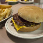 Double hamburger with cheese and a 50/50 of fries and onion rings at Winstead's in Overland Park, Kansas