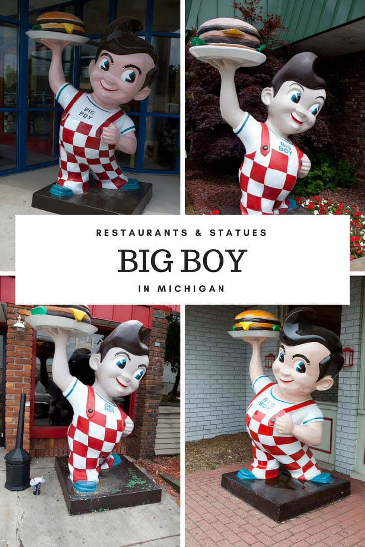 Photo recap of Big Boy statues throughout Michigan. These iconic roadside attractions sit outside Big Boy restaurants across the state and country. It's a thing to do in the state: stop by for a road trip meal on your Michigan road trip or vacation and check out the weird roadside attractions while you're there! #MichiganRoadsideAttractions #MichiganRoadsideAttraction #RoadsideAttractions #RoadsideAttraction #RoadTrip #MichiganRoadTrip #WeirdRoadsideAttractions #RoadTripStops