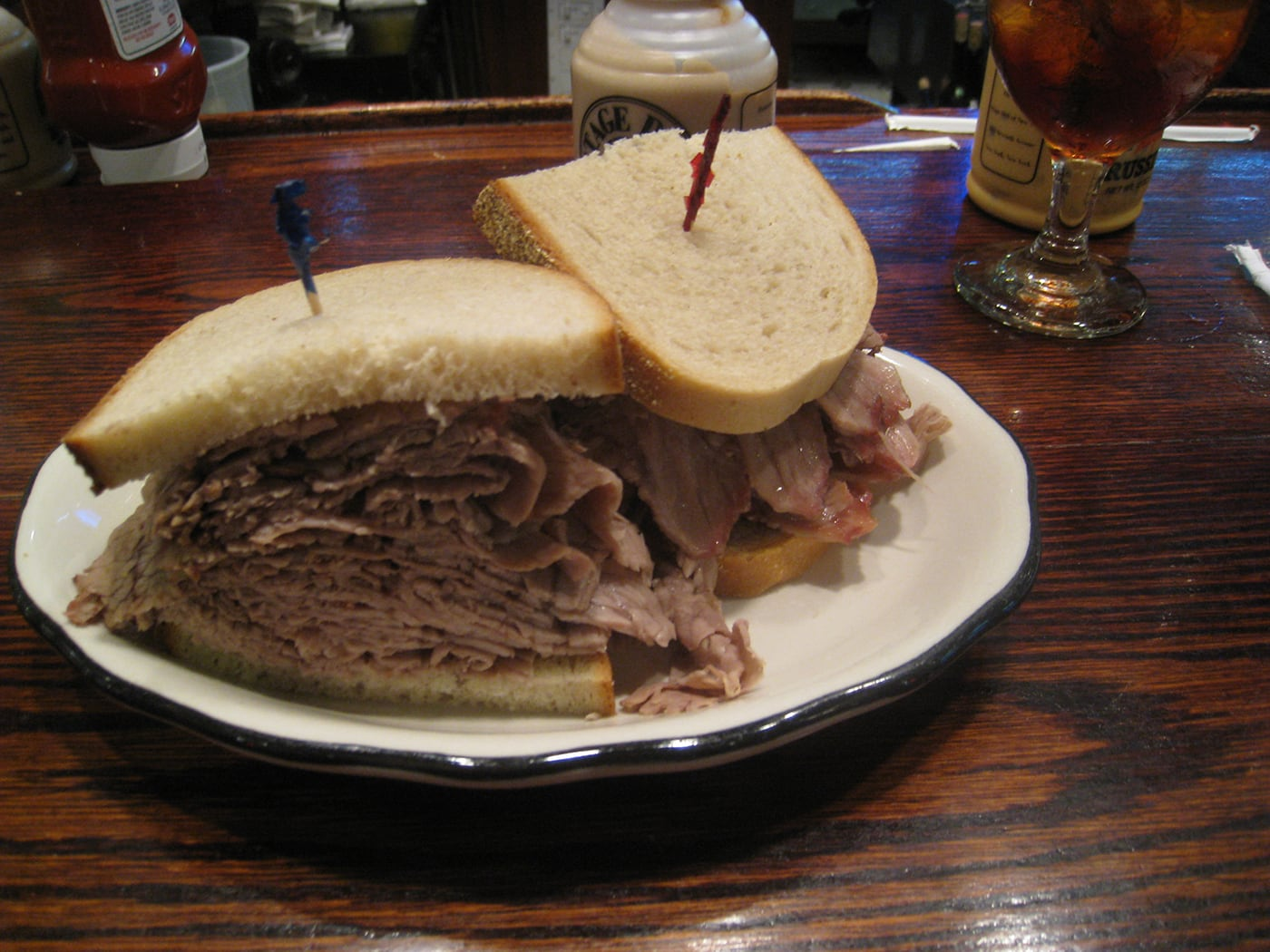 Giant Brisket Sandwich in New York City.