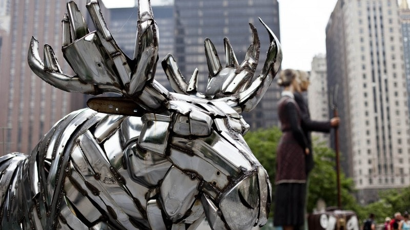 Moose (W-02-03), a chrome moose statue on Michigan Ave. in Chicago, Illinois.