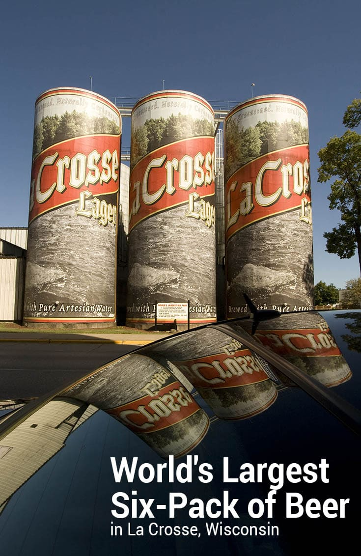 CHEERS! Photos of the World's Largest Six-Pack of Beer in La Crosse, Wisconsin. Drink these up and you might end up with the world's largest hangover! Stop by this weird roadside attraction on your Wisconsin road trip and add the big beer to your travel bucket lists and itineraries and map. #WisconsinRoadsideAttractions #WisconsinRoadsideAttraction #RoadsideAttractions #RoadsideAttraction #RoadTrip #WisconsinRoadTrip #WisconsinRoadTripMap #ThingsToDoInWisconsin #WeirdRoadsideAttractions