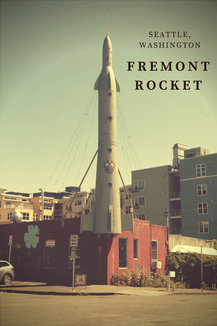 Photos of the Fremont Rocket in Seattle, Washington, a weird roadside attraction and monument devoted to the neighborhood's status as the center of the universe. Stop by this place to visit on your vacation in Seattle or Washington road trip. Add it to your travel map and itinerary! #WashingtonRoadsideAttractions #WashingtonRoadsideAttraction #RoadsideAttractions #RoadsideAttraction #RoadTrip #WashingtonRoadTrip  #SeattleRoadTrip #WeirdRoadsideAttractions #RoadTripStops #SeattleTravel