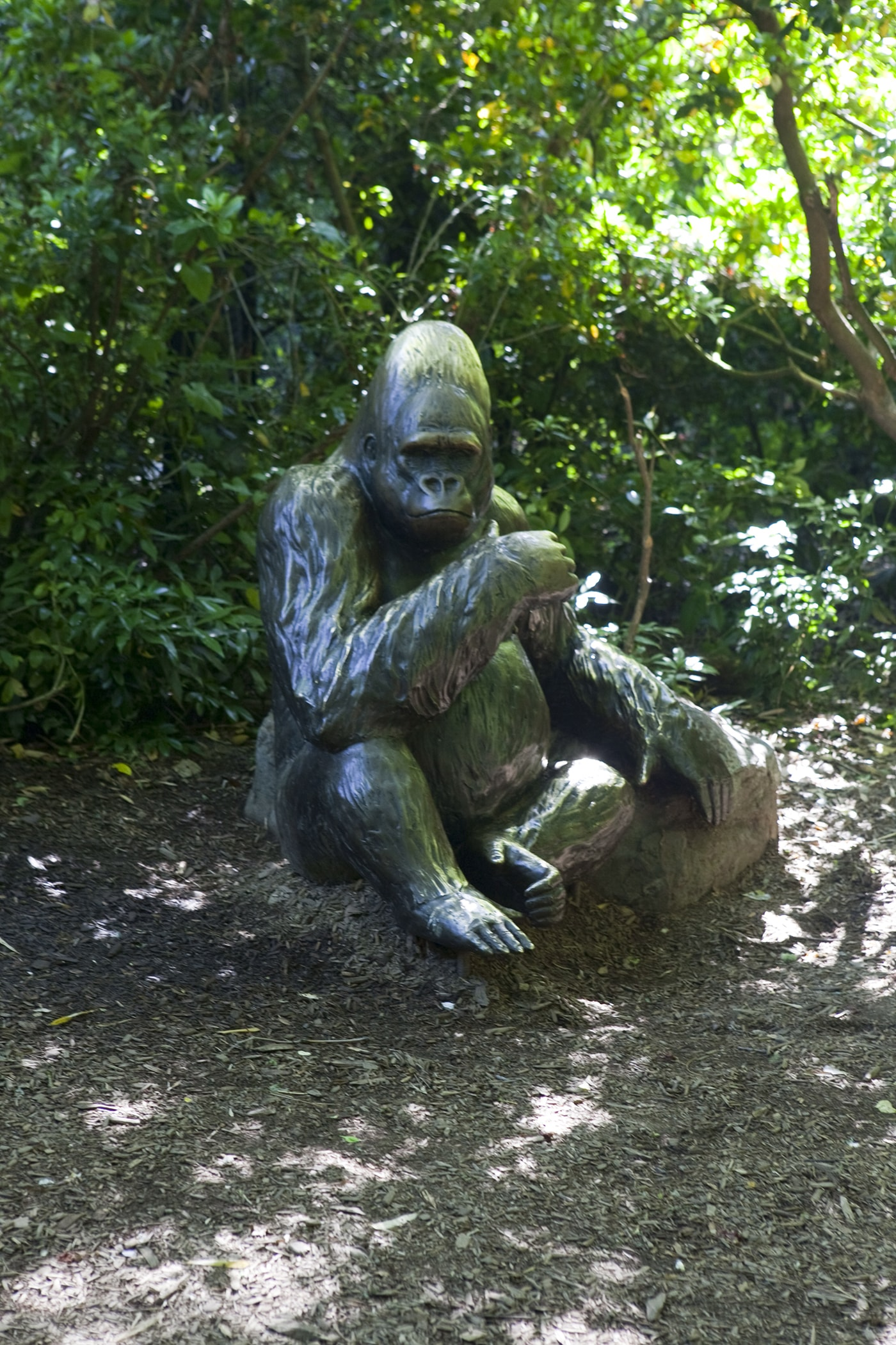 Bronze Gorilla Family Statue at Woodland Park Zoo in Seattle, Washington.