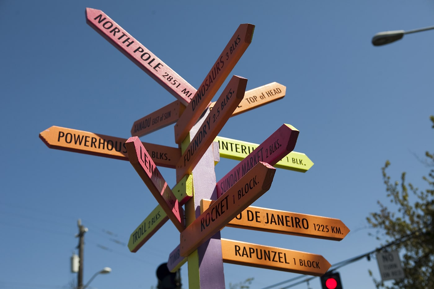 Guidepost in Fremont - the Center of the Universe - in Seattle, Washington.