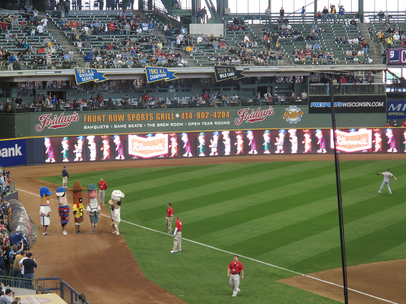 Sausage race at a Brewers game at Millers Park in Milwaukee.