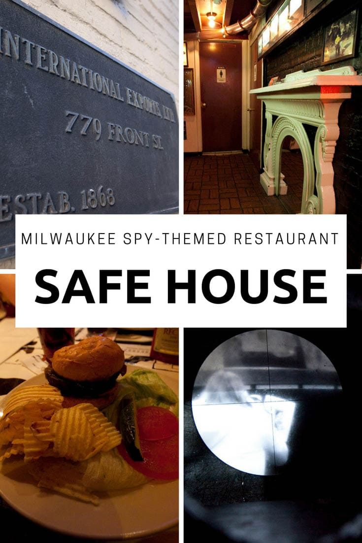 Photos from Safe House, a spy-themed restaurant disguised as an importer/exporter business in a nondescript alley in Milwaukee, Wisconsin. A fun stop for a road meal on a Milwaukee vacation or Wisconsin road trip. A fun road trip meal for kids or adults. #WisconsinRoadsideAttractions #WisconsinRoadsideAttraction #RoadsideAttractions #RoadsideAttraction #RoadTrip #WisconsinRoadTrip #ThingsToDoInWisconsin #RoadTripMeals #RoadTripMealsForFamilies #TravelFood #RoadFood #RoadFoodIdeas #RoadFoodStops