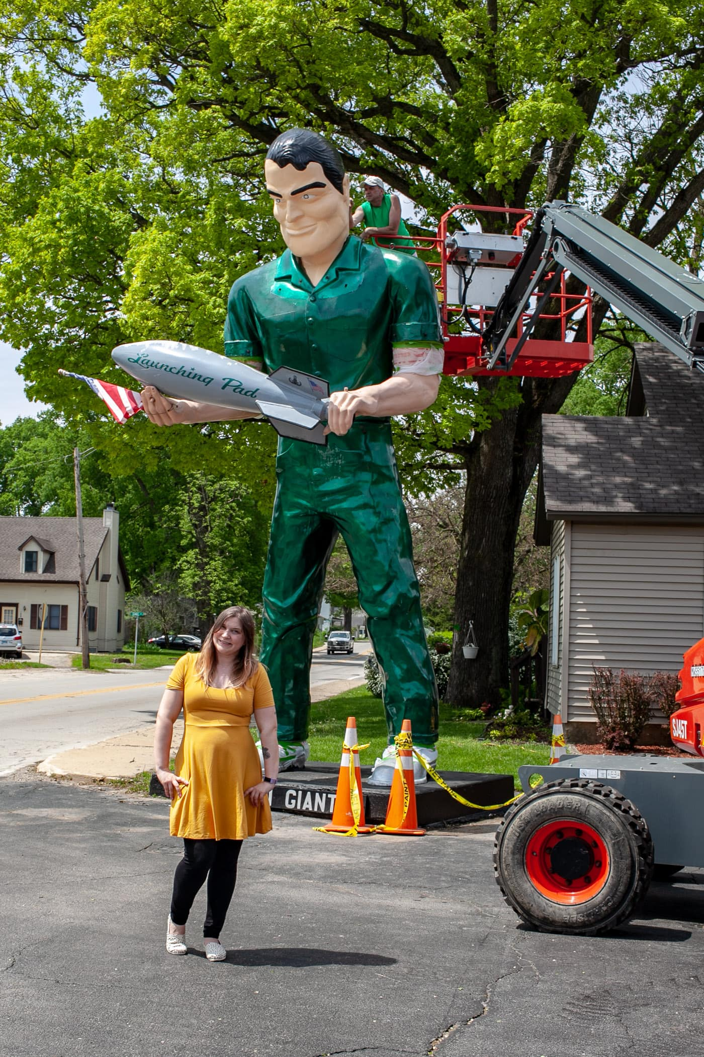 Val with the Gemini Giant Muffler man without his helmet on at the Launching Pad Drive In in Wilmington, Illinois on Route 66.