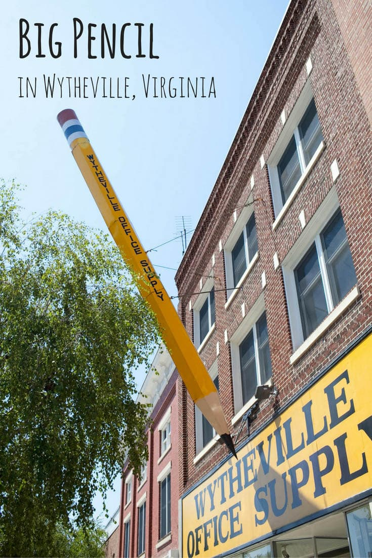 Photos of a Big Pencil in Wytheville, Virginia. A weird roadside attraction outside Wytheville Office Supply as seen on a Virginia road trip. A fun road trip stop and place to visit in Virginia with kids or friends.  #VirginiaRoadsideAttractions #VirginiaRoadsideAttraction #RoadsideAttractions #RoadsideAttraction #RoadTrip #VirginiaRoadTrip #VirginiaRoadTripBucketLists #VirginiaBucketList #VirginiaRoadTripIdeas #WeirdRoadsideAttractions #RoadTripStops #USARoadsideAttractions #USA #America