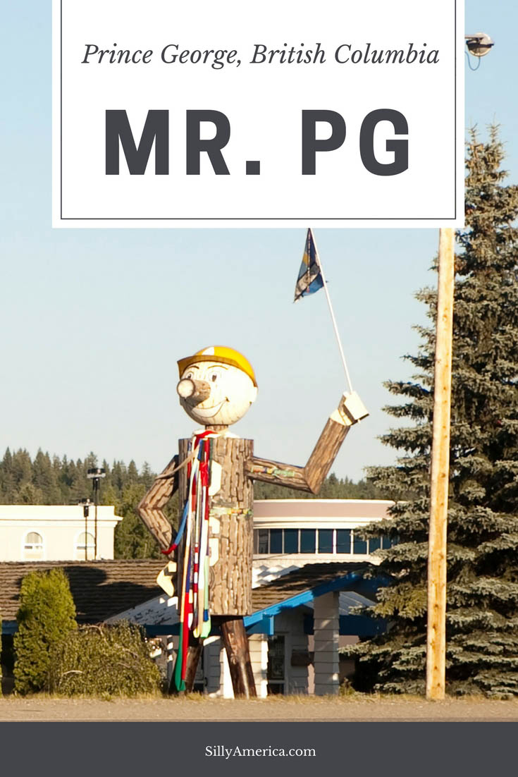 Mr. PG is the pride of Prince George, British Columbia. The roadside attraction was first erected in 1960 to honor the lumbar industry and rebuilt in 1983. Visit this Canadian roadside attraction on a British Columbia road trip across Canada. #CanadianRoadsideAttractions #CanadianRoadsideAttraction #RoadsideAttractions #RoadsideAttraction #RoadTrip #CanadaRoadTrip #CanadaRoadTripMap #CanadaRoadTripIdeas #CanadaRoadTripItinerary #CanadaRoadTripPhotography