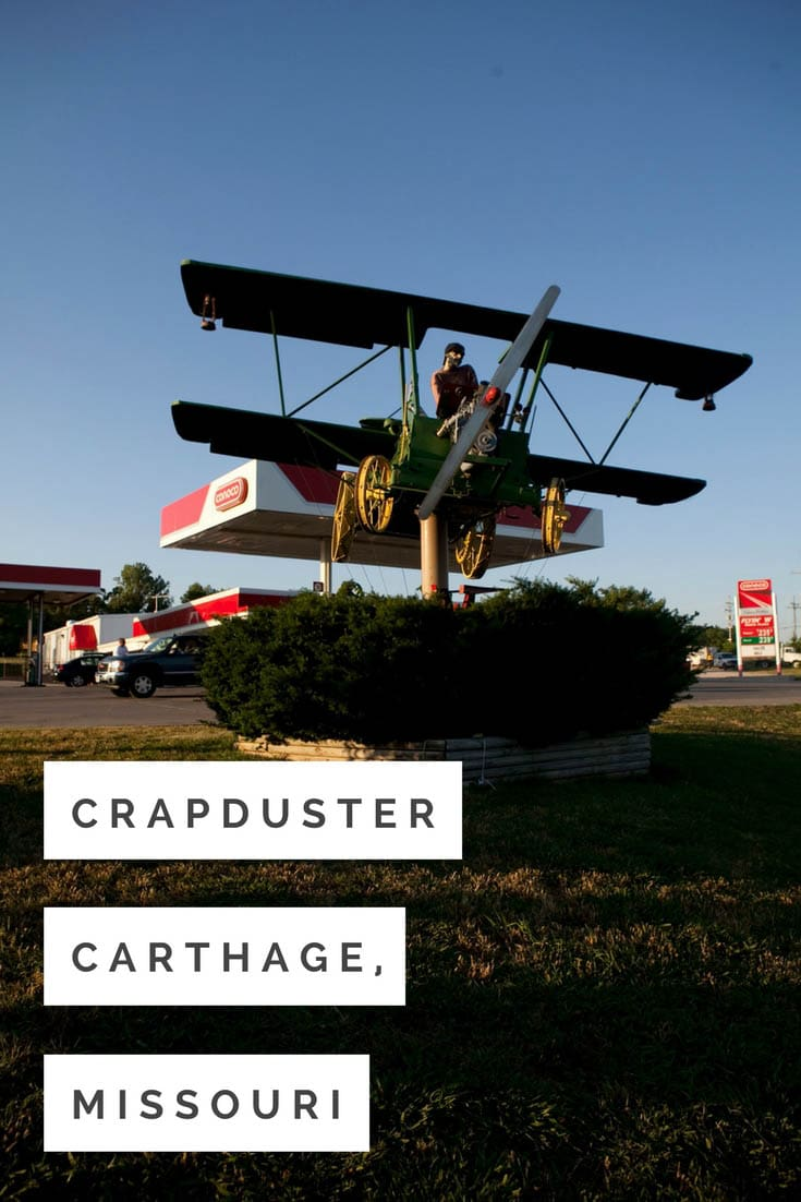 The crapduster is an airplane roadside attraction created in 1997 by Lowell Davis out of an antique manure spreader at a Carthage, Missouri gas station. Visit this weird roadside attraction on a Missouri road trip and add the travel destination to your travel bucket list, weekend getaway agenda, or road trip itinerary. #MissouriRoadsideAttractions #RoadsideAttraction #RoadTrip #MissouriRoadTrip #PlacestoVisitinMissouri #MissouriRoadTripIdeas #WeirdRoadsideAttractions #RoadTripStops