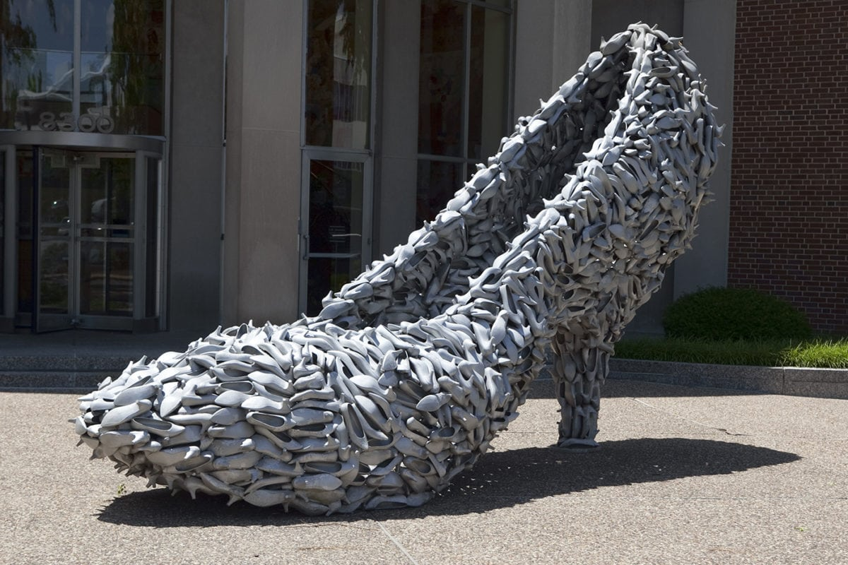 ? Big Shoe Made of Shoes in Clayton, Missouri