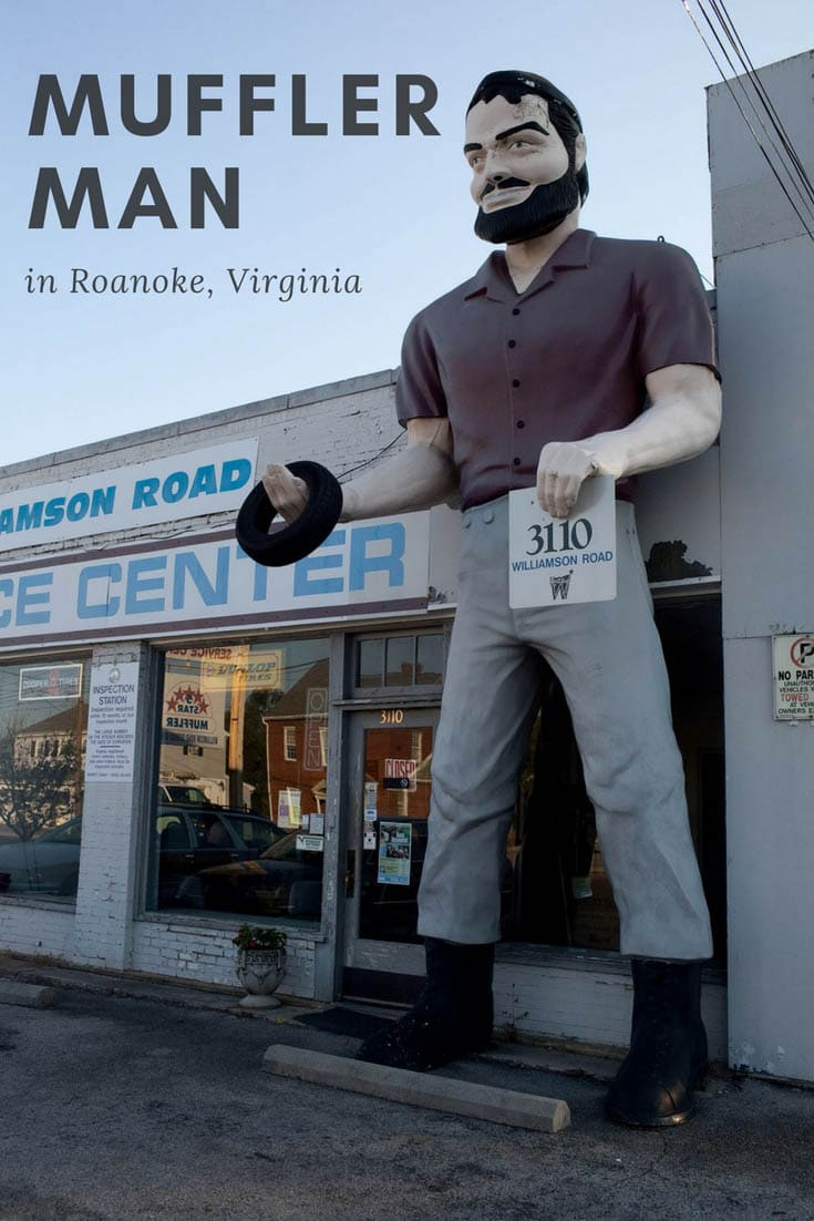 This Bunyan Muffler Man in Roanoke, Virginia wears a red shirt and carries a tire. The roadside attraction stands outside Williamson Road Service Center. Visit this weird roadside attraction on a Virginia road trip and add it to your travel bucket list of places to visit in Virginia. #VirginiaRoadsideAttractions #VirginiaRoadsideAttraction #RoadsideAttractions #RoadsideAttraction #RoadTrip #VirginiaRoadTrip #VirginiaBucketList #VirginiaRoadTripIdeas  #WeirdRoadsideAttractions #RoadTripStops