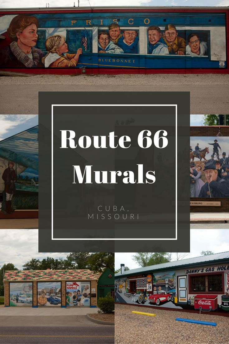 "Cuba, Missouri is known as the town ""where art meets history"" and you can see the spirit of that moniker in the colorful Route 66 murals in Cuba. Stop at this road trip stop on your Route 66 road trip through Missouri. Add it to your travel bucket list, road trip ap, or itinerary of things to do in the state. #Route66 #Route66RoadTrip #MissouriRoadsideAttractions #RoadsideAttractions #RoadTrip #MissouriRoadTrip #PlacestoVisitinMissouri #MissouriRoadTripIdeas #MissouriTravelRoadTrip"