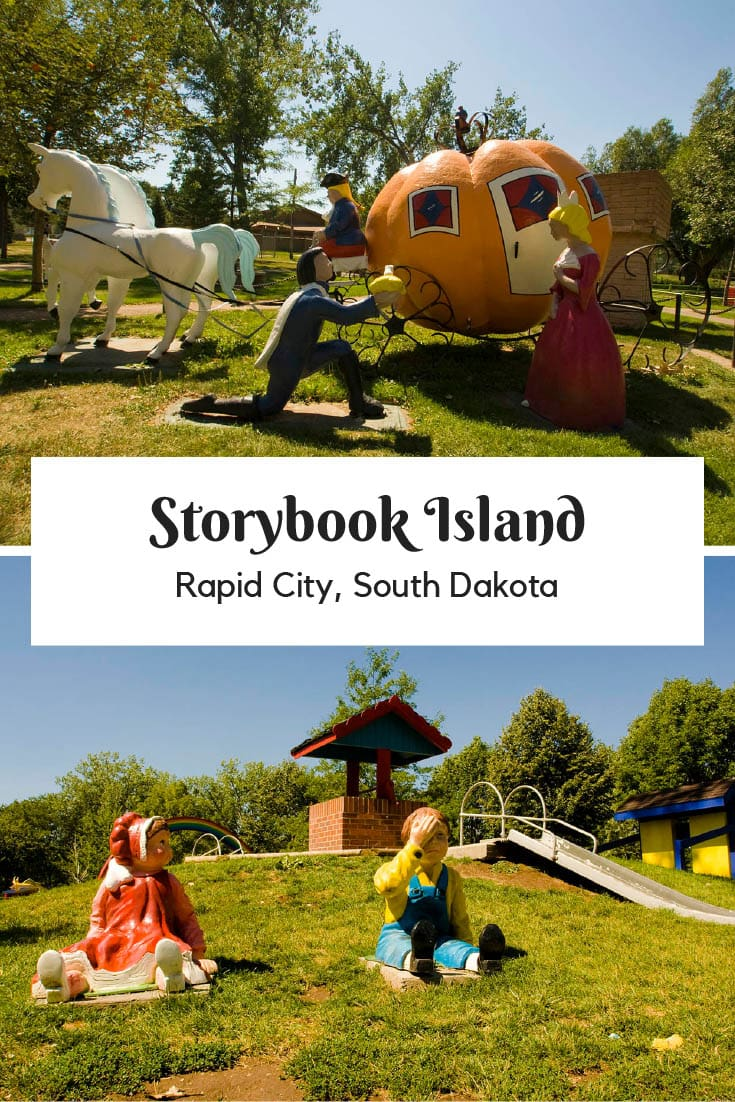 Built in 1959, Storybook Island in Rapid City, South Dakota is a children's play area and family theme park featuring fairy tales, nursery rhymes, and more. Add this weird roadside attraction to your South Dakota road trip itinerary of things to do in the state. A fun road trip stop for travel with kids. #SouthDakotaRoadsideAttraction #RoadsideAttractions #RoadTrip #SouthDakotaRoadTrip #ThingsToDoInSouthDakota #SouthDakotaFamilyVacations #SouthDakotaRoadTripItinerary  #WeirdRoadsideAttractions