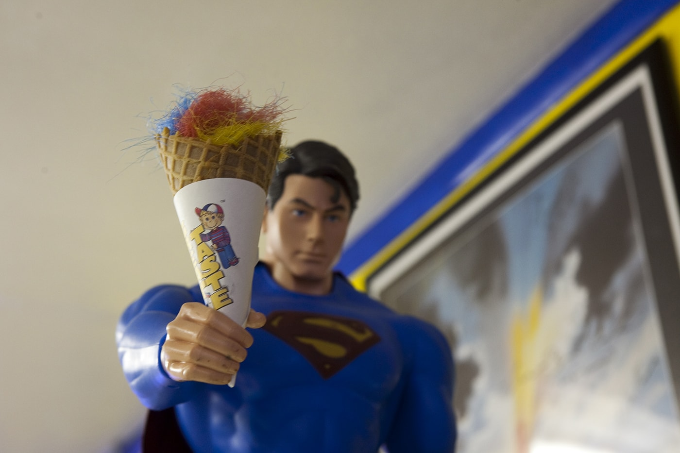 Superman statue holding ice cream cone. SuperTAM on 66 - Superman Memorabilia & Ice Cream in Carterville, Missouri