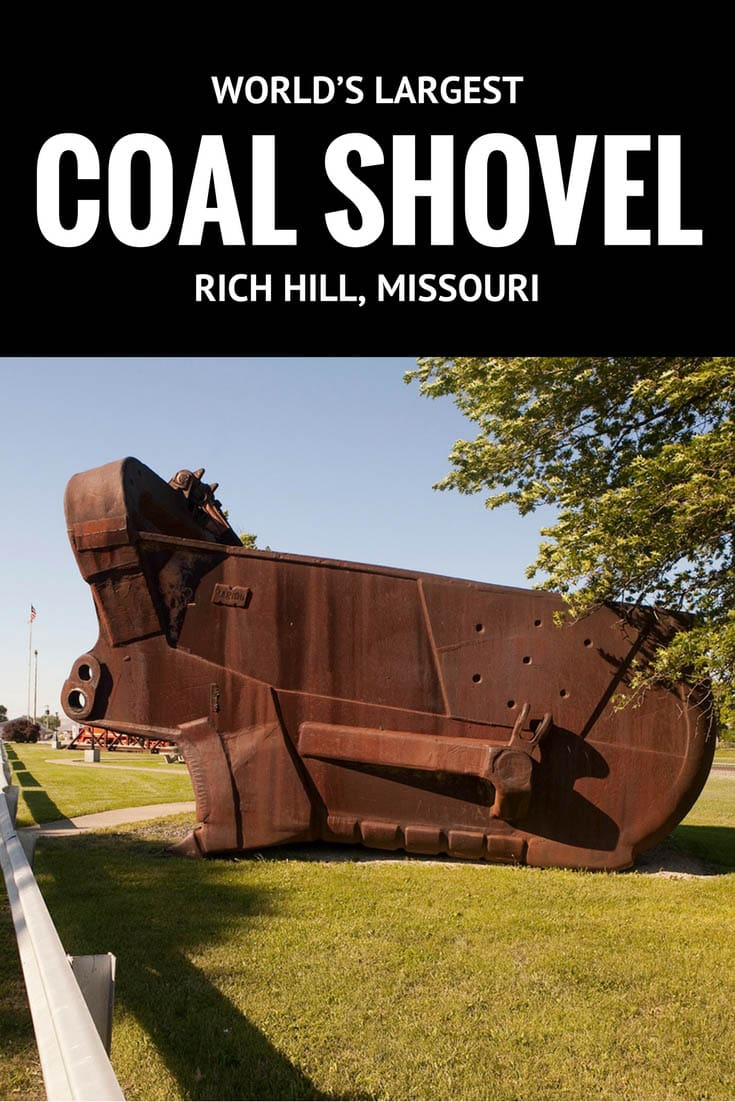 "Big Mouth, the World's Largest Coal Shovel in Rich Hill, Missoui (""The Town that Coal Built"") can hold up to 30 tons (60,000 pounds!) with each scoop. Visit this Missouri roadside attraction on a Missouri road trip or vacation. Add this weird roadside attraction to your travel bucket list or vacation itinerary. #RoadsideAttractions #WeirdRoadsideAttractions #RoadTripStops #RoadTrip #MissouriRoadsideAttractions #MissouriRoadTrip #PlacestoVisitinMissouri #MissouriRoadTripIdeas"