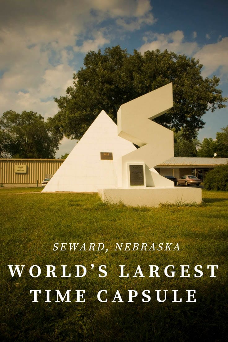 Buried in 1975 by Harold Keith Davisson, the World's Largest Time Capsule in in Seward, Nebraska is set to be opened 50 years later on July 4, 2025. Add this Nebraska roadside attraction to your road trip itinerary and travel bucket lists. A fun road trip stop for kids or adults. #NebraskaRoadsideAttractions #NebraskaRoadsideAttraction #RoadsideAttractions #RoadsideAttraction #RoadTrip #NebraskaRoadTrip #ThingsToDoInNebraska #NebraskaRoadTripWithKids #ThingsToSeeInNebraska