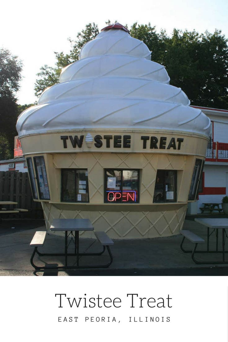 The Twistee Treat franchise offers soft serve ice cream and hot dogs in giant ice cream shaped buildings across the US. Novelty Architecture + Cool Desserts. Visit one for a sweet treat on a road trip with kids, add it to your road trip itinerary, and cross it off your travel bucket list. #IllinoisRoadsideAttractions #IllinoisRoadsideAttraction #RoadsideAttractions #RoadsideAttraction #RoadTrip  #WeirdRoadsideAttractions #VintageRoadsideAttractions #RoadTripStops ##USARoadsideAttractions #USA