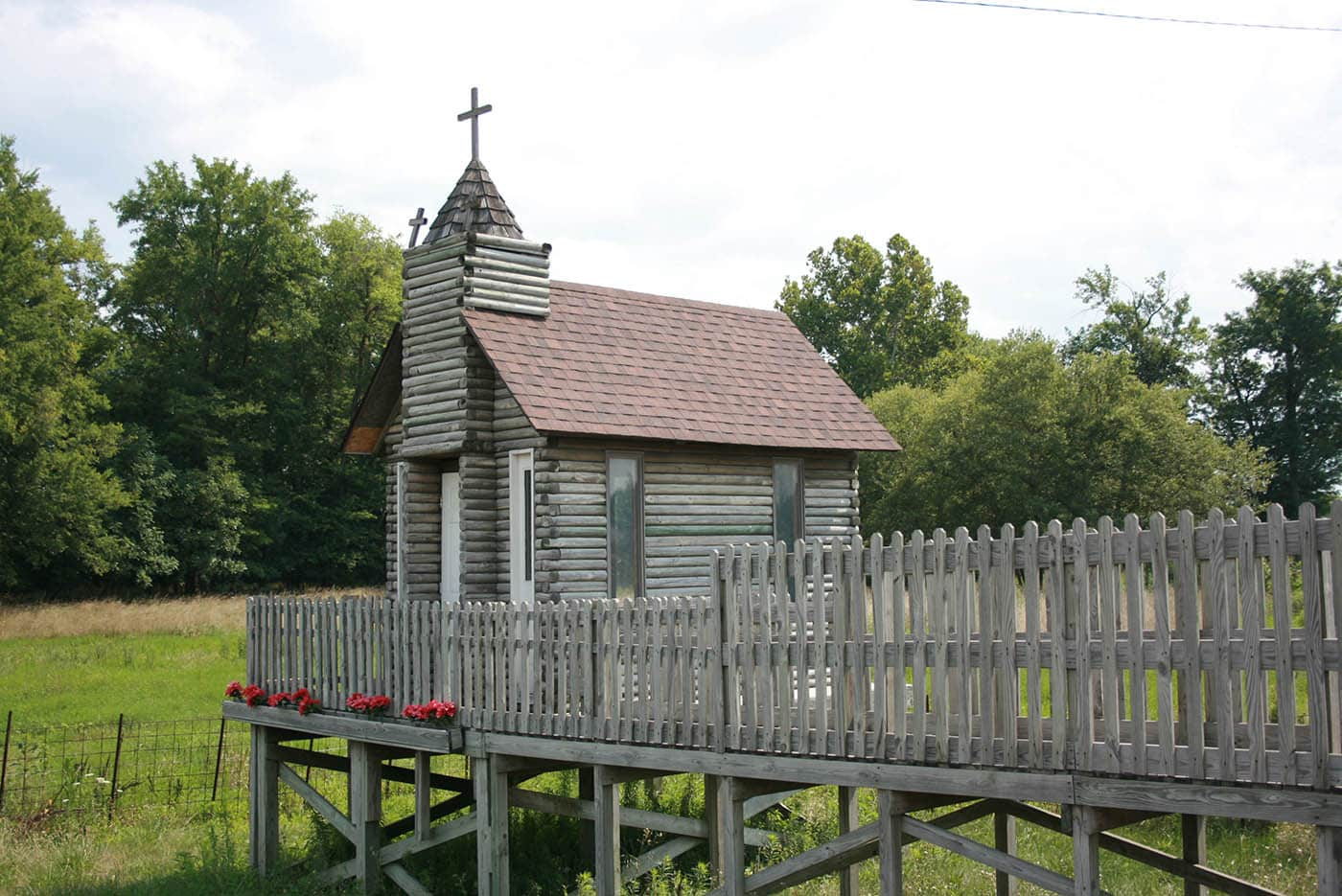 The Traveler's Chapel - a tiny church in Nashville, Illinois