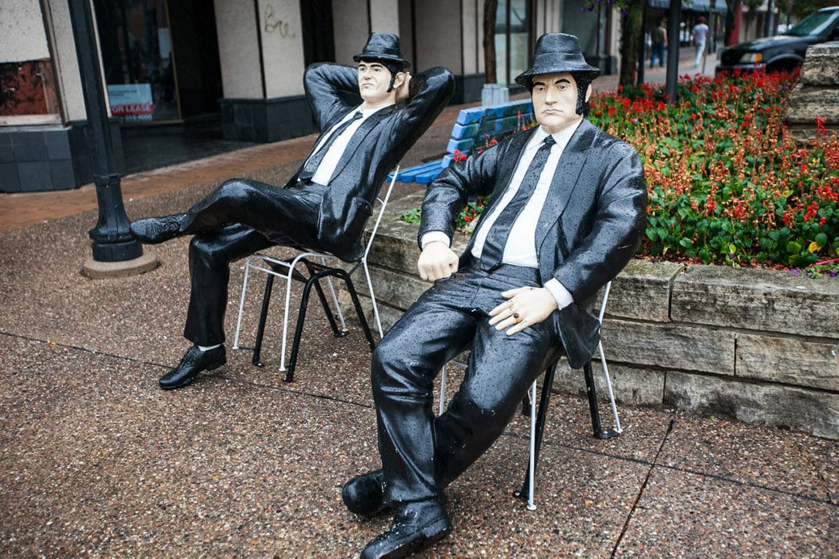 Blues Brothers Statues in Rock Island, Illinois