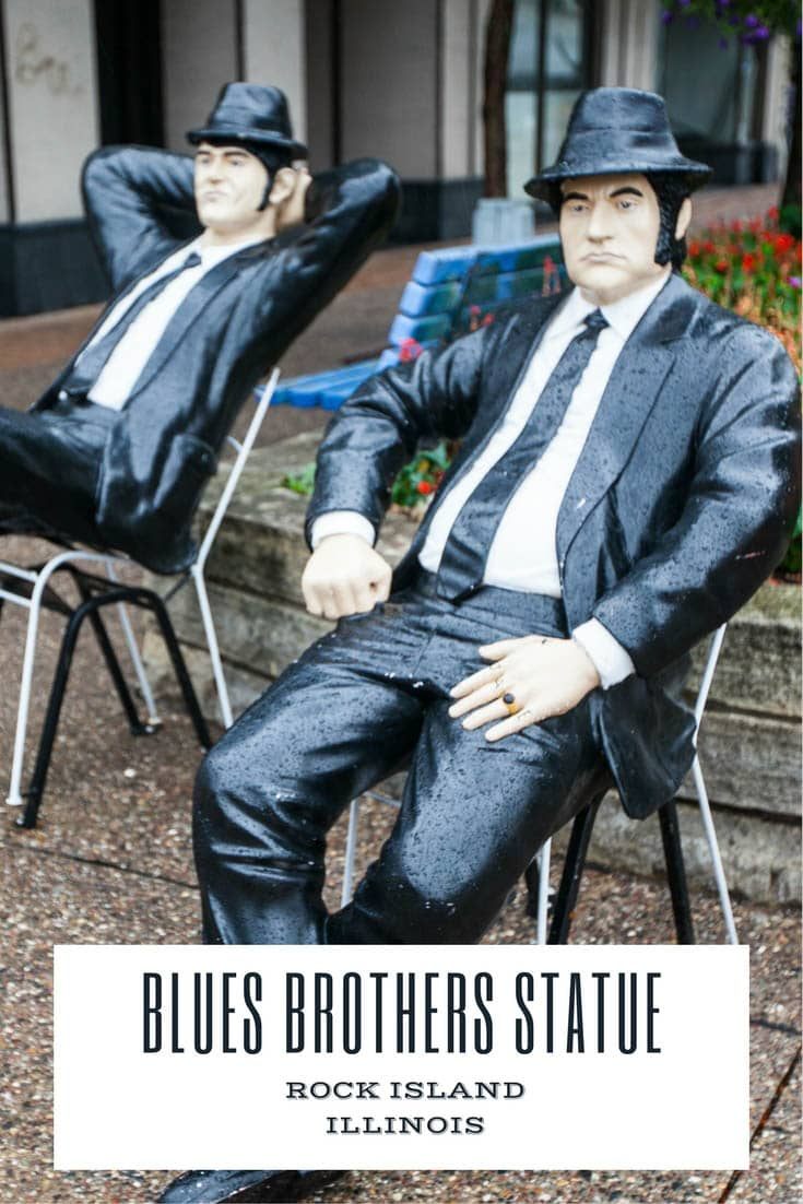 Rock Island, Illinois celebrates the birthplace of Jake and Elwood Blues, the Blues Brothers. Find these Blues Brothers statues downtown in the Quad Cities. A Illinois roadside attraction for movie lovers to visit on a Great River Road road trip.  #IllinoisRoadsideAttractions #IllinoisRoadsideAttraction #RoadsideAttractions #RoadsideAttraction #RoadTrip #IllinoisRoadTrip #IllinoisWeekendGetaways #IllinoisWithKids #IllinoisRoadTripItinerary #IllinoisRoadTripMap #IllinoisRoadTripTravel