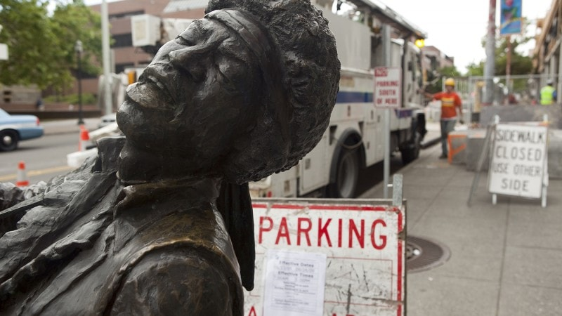 Bronze Jimi Hendrix Statue in Seattle, Washington