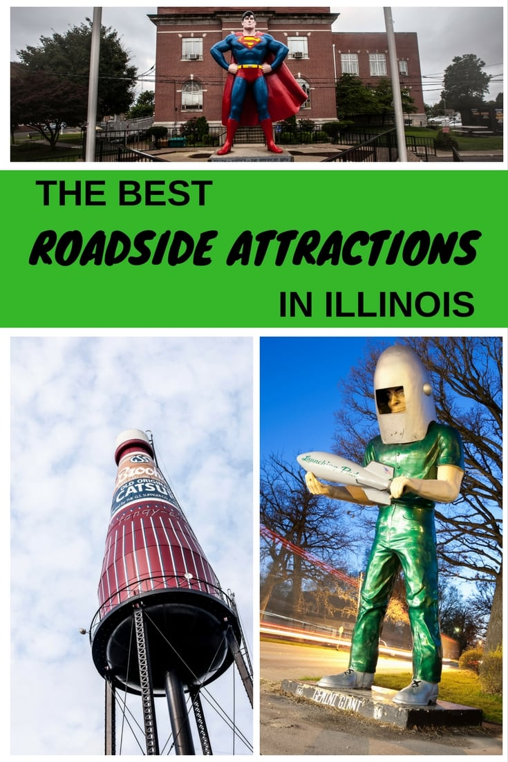 The best Illinois roadside attractions to visit on an Illinois road trip with kids on Route 66 or weekend getaway with friends in Chicago. Add these things to do in Illinois to your road trip bucket list and visit them on your next travel adventure. #IllinoisRoadsideAttractions #RoadsideAttractions #RoadsideAttraction #RoadTrip #IllinoisRoadTrip #IllinoisWeekendGetaways #IllinoisWithKids #IllinoisRoute66 #IllinoisRoadTripItinerary #IllinoisRoadTripMap #IllinoisRoadTripTravel