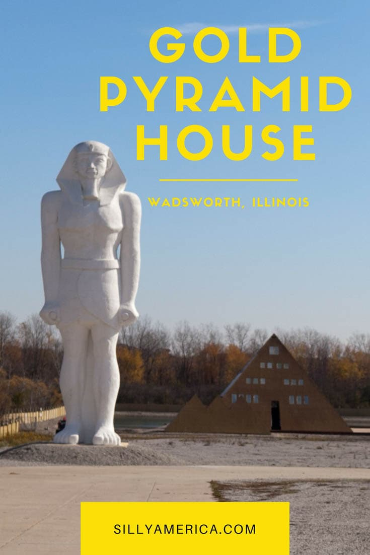 The six-story, 17,000-square-foot Gold Pyramid House was a gold-plated Egyptian roadside attraction in Illinois. A fire destroyed the building in 2018. It still makes an interesting Illinois road trip stop so visit this weird roadside attraction when driving through Illinois. #IllinoisRoadsideAttractions #IllinoisRoadsideAttraction #RoadsideAttractions #RoadsideAttraction #RoadTrip #IllinoisRoadTrip #IllinoisRoadTripItinerary #WeirdRoadsideAttractions #RoadTripStops
