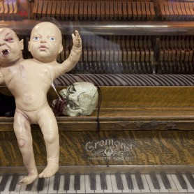 Two headed baby on a piano at Ye Olde Curiosity Shoppe in Seattle, Washington