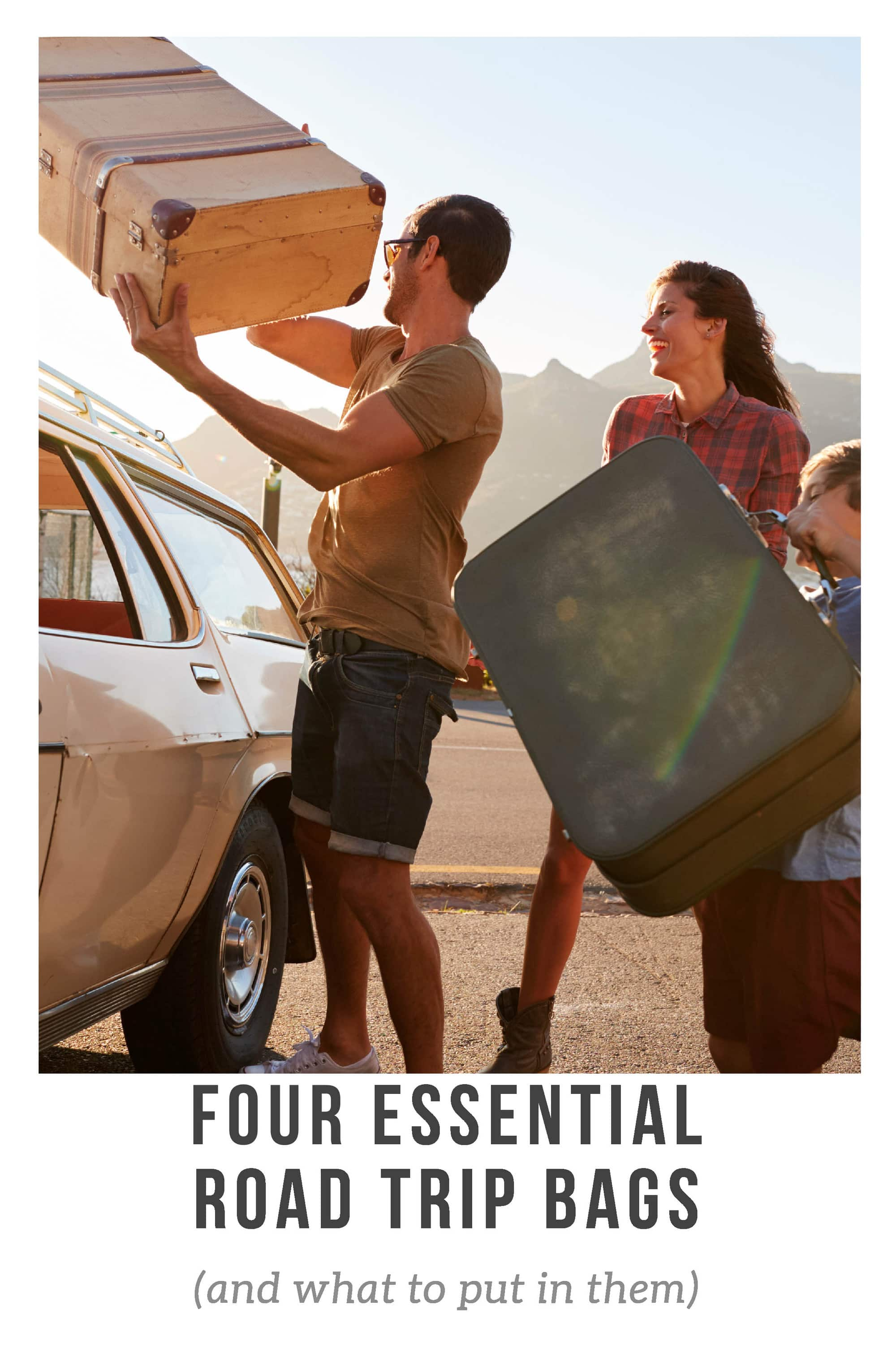 Four essential road trip bags every traveler should have in their car. Here's what they are, ideas for what to put in them, and tips on where to keep them. These bags road trip packing essentials and organization hacks for anyone planning a road trip, whether driving cross country or spending a weekend in the next city - perfect for adults, families, kids, or couples. #RoadTripPacking #RoadTripPackingHacks #RoadTripPackingTips #RoadTripPackingEssentials  #RoadTripPlanning #RoadTripEssentials