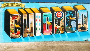 Greetings From Chicago Mural in Logan Square, Chicago. This Chicago wall mural was painted in May 2015 as part of The Greetings From Tour: a travel and art project by Victor Ving (a former graffiti artist from New York City) and photographer Lisa Beggs.