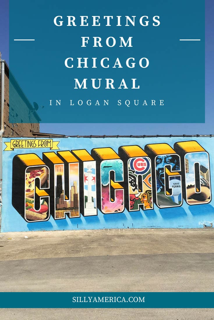 Greetings From Chicago Mural in Logan Square, Chicago. This Chicago wall mural was painted in May 2015 as part of The Greetings From Tour: a travel and art project by Victor Ving (a former graffiti artist from New York City) and photographer Lisa Beggs. Visit the colorful outdoor street art on a Chicago vacation or Illinois road trip. #Murals #StreetArt #OutdoorMural, #PaintedMurals #meaningfulstreetart #amazingstreetart #coolstreetart #colorfulstreetart #ChicagoTravel #Chicago