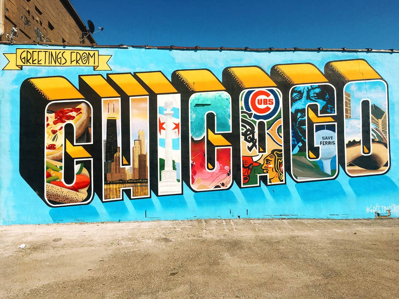 Greetings From Chicago Mural In Logan Square Silly America