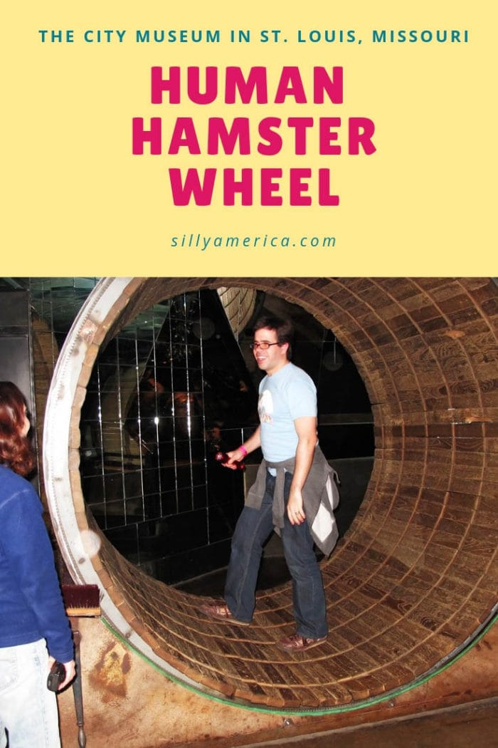 Human Hamster Wheel at the City Museum in St. Louis, Missouri. This giant hamster wheel for humans is a roadside attraction at the museum.