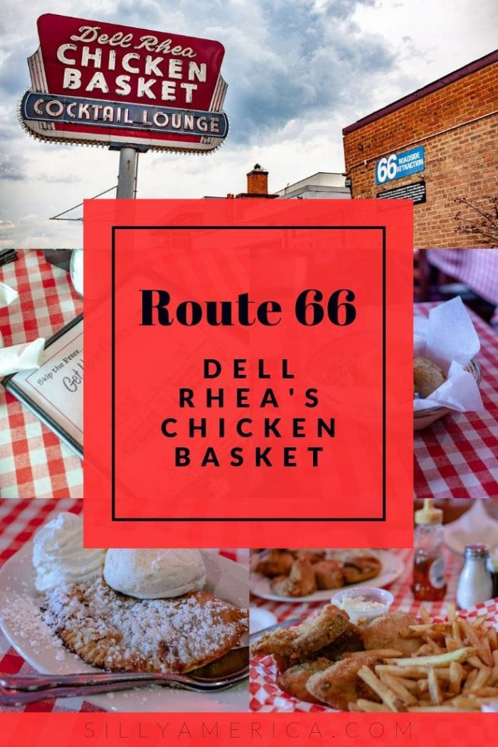 Dell Rhea's Chicken Basket is an iconic Route 66 restaurant in Illinois. This chicken joint in Willowbrook has been serving up chicken since the 1930s. Stop for a delicious road trip meal on your Route 66 road trip through Illinois for a family meal everyone will love. #Route66 #Route66RoadTrip #RoadTrip #RoadTripStops #RoadTripMeals #RoadTripMealsFOrAdults #RoadTripMealsForFamilies#TravelFood #RoadFood #RoadFoodIdeas #RoadFoodStops #RoadTripFood #LongRoadTripFood #ChickenDinner