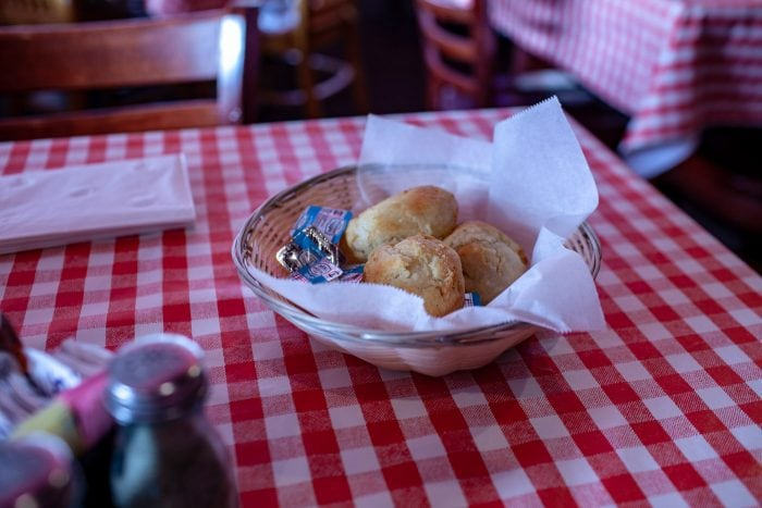 Biscuits at Dell Rhea's Chicken Basket restaurant on Route 66 in Illinois.